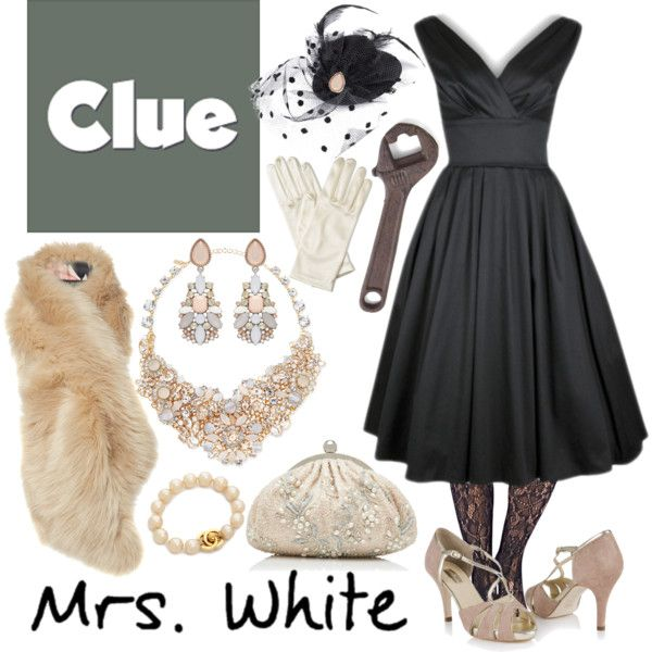 """Mrs. White 1 - Clue"" by b-scottyer on Polyvore I WANT IT ALL. I'm really more a Miss Scarlet, I think, but I'm going for a role and want this intrinsically."
