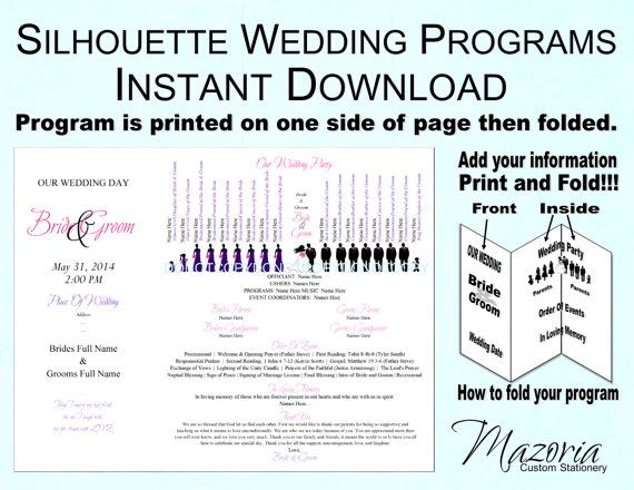 simple bi fold wedding program template free template 2018