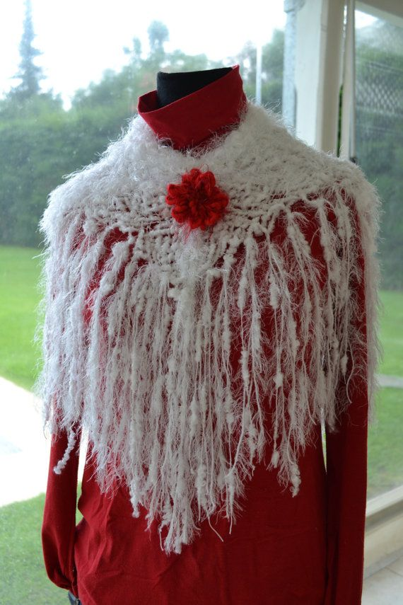 Shocking new Hand Woven fringed Christmas White Fluffy by Cozyyarn, $49.00
