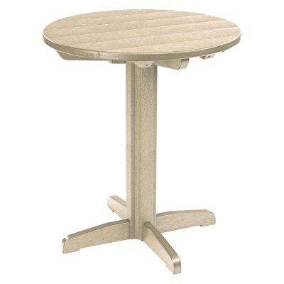 Outdoor CR Plastic Generations 40 in. Round Pub Height Table Beige - TBT13-07