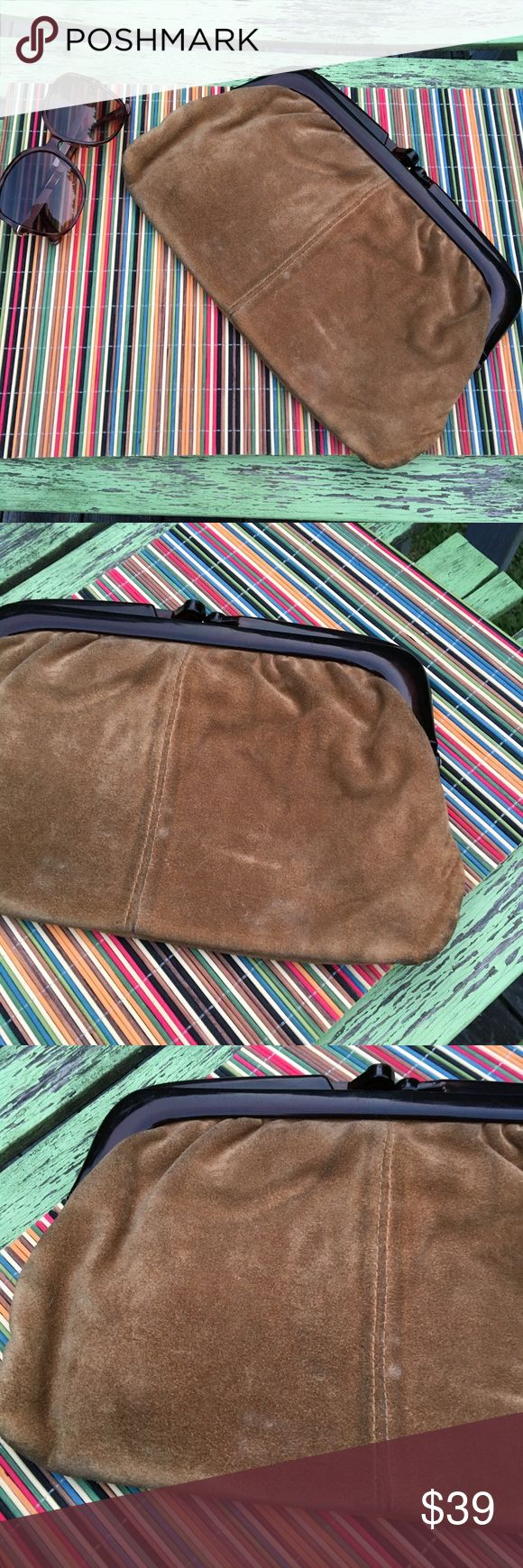 Vintage Italian suede clutch Vintage and gently worn. See pics for minor stains. Can easily be cleaned with suede shoe cleaner. Snap closure. Make an offer. 30% off bundles of two or more Bags Clutches & Wristlets