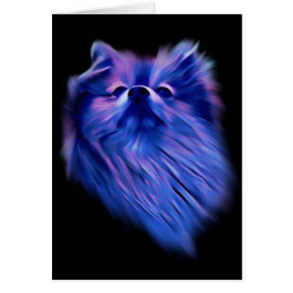 Blue Pomeranian Card - animal gift ideas animals and pets diy customize