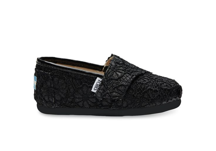 Black Black Crochet Glitter Tiny TOMS Classics