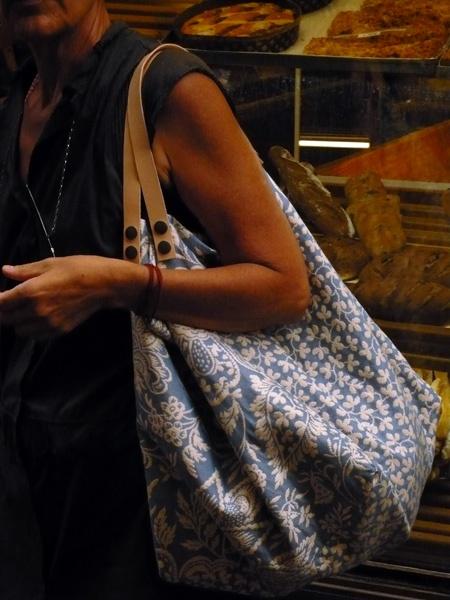Grand cabas tissu tissé jacquard ! doublé de satin de coton avec2 grandes poches mesure H :