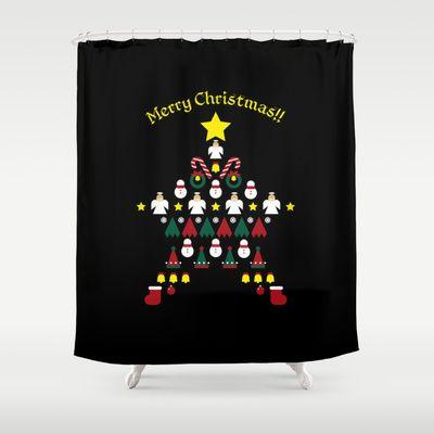 FLAT CHRISTMAS series -CHRISTMAS STAR_B Shower Curtain by SEOL.D - $68.00