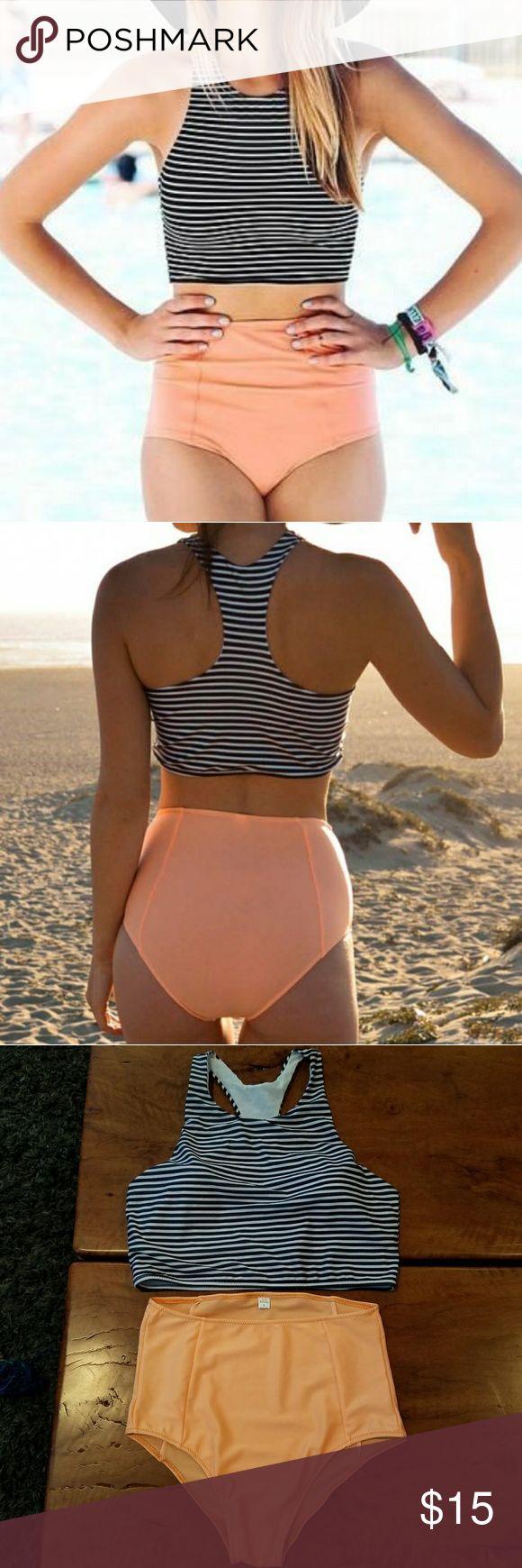 High waisted bikini set Black & white striped razor back bikini top with cups. Coral high waisted bikini bottoms. Size large better fits a size medium. Brand new never worn but no tags. Swim Bikinis