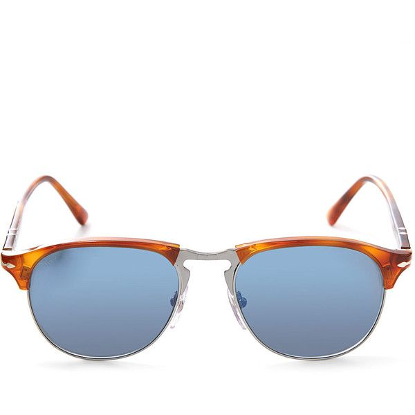 Persol Brown PO8649S Clubmaster Sunglasses ($265) ❤ liked on Polyvore featuring men's fashion, men's accessories, men's eyewear, men's sunglasses, mens retro sunglasses, persol mens sunglasses and mens brown sunglasses