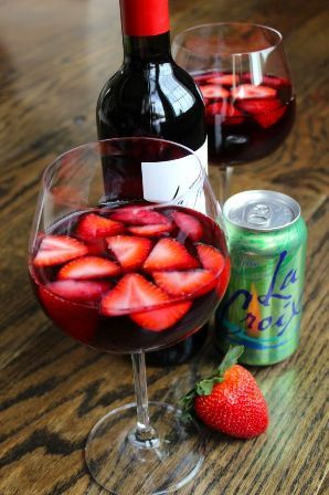 Skinny Strawberry Sangria 1 750 ml bottle red wine 2- 12 oz can Lime LaCroix Sparkling Water 3 cups California strawberries, hulled and sliced lengthwise