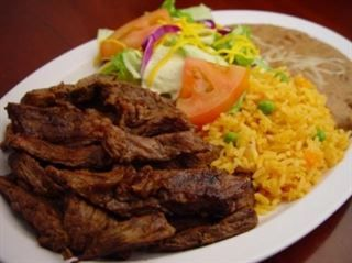 Carne Asada Plate :Delicious strips of broiled steak with rice, beans, salad, & tortillas from Pico Pica Rico Restaurant in Los Angeles #Food #Salad #Restaurant forked.com