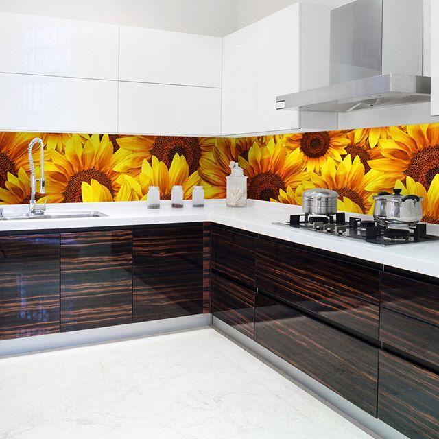 Kuchynská fototapeta s motívom slnečníc rozjasní každú kuchyňu. #fototapeta #kuchyna #fototapety #dimexsk