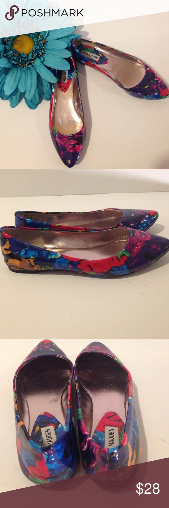 New Steve Madden IBIZA Multi Color Flat, Sz 8 New without box! Stay on point with these sophisticated pointed toe flats from Steve Madden. The Ibiza patent flat will keep your casual look sleek & chic. Multi color ballet flats literally go with everything and are a must-have essential for your wardrobe. Steve Madden Shoes Flats & Loafers