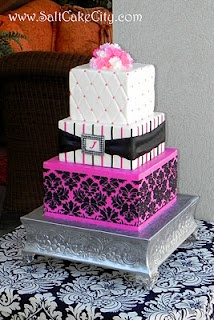 Hot Pink & Damask Wedding. Mia would love this for a birthday cake