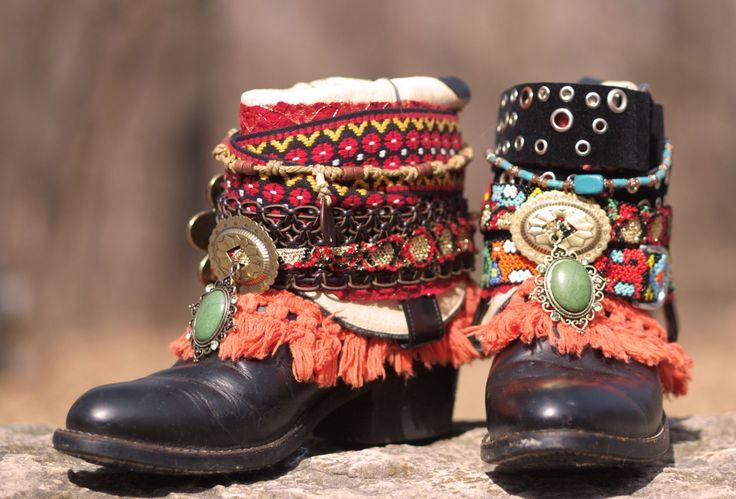 Custom Black boho tribal colorful upcycled COWBOY boots boho