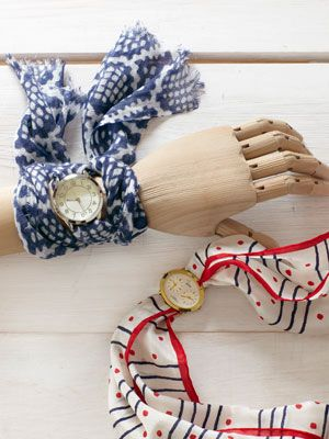 Such a pretty gift or handmade style statement: How to make a watchband from a scarf. #craftsVintage Scarves, Vintage Watches, Crafts Ideas, Fashion Statement, Vintage Scarf, Scarf Watchbands, Fleas Marketing, Recycle Crafts, Scarf Watches