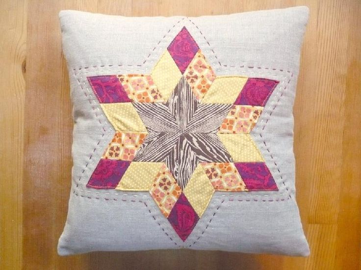 Starburst Pillow (via Craftsy, pattern in Fat Quarterly)Sewing Projects, Stars Pillows, Starburst Pillows, Quilt Block, Christmas Fabrics, English Paper Piece, Hands Stitches, Fall Stars, Fall Starburst