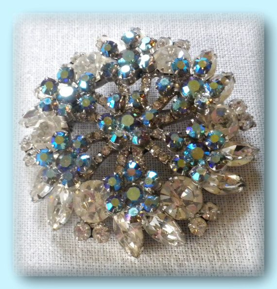 Vintage Large Rhinestone Brooch Exceptional by FineThingsShop