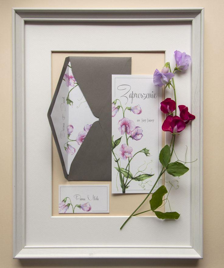 zaproszenia ślubne Koszalin, pink, kwiaty, groszek pachnący, violet, zaproszenia Koszalin, zaproszeniaślubne, miodunkapapeteriaślubna, wedding, ślub, papeteria, miodunka