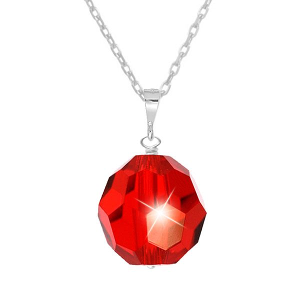 Tia Crystal Pendant in January Siam Red - An elegant classic design. A single shimmering Swarovski crystal drop is suspended from a fine sterling silver chain. Finished with a sterling silver clasp and extension chain.  The 10mm crystal is a stunning shade of siam red (January Birthstone colour). It is facet cut to give it an amazing radiance and shine. A beautiful look for everyday wear or layer with other pendants for a more striking style.  A perfect gift for children, teens & adults.