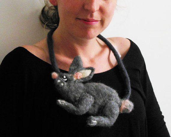 felt rabbit fiber artistic necklace statement necklace by evalinen (wtf?)