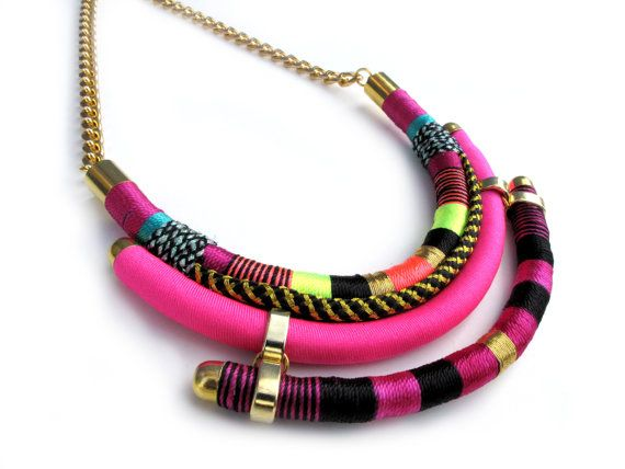 Wrapped rope Necklace Native inspired  tribal bohemian pink tones colorful jewerly