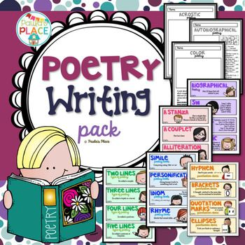 Poetry Writing Pack that contains templates and cards or a word wall display for all the elements you will ever want.