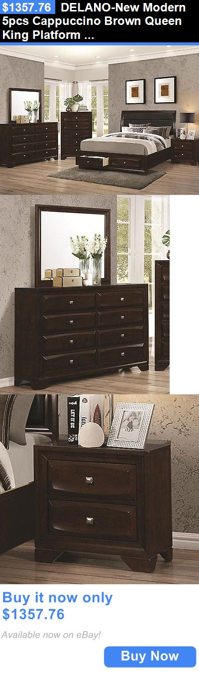 Bedding: Delano-New Modern 5Pcs Cappuccino Brown Queen King Platform Storage Bedroom Set BUY IT NOW ONLY: $1357.76