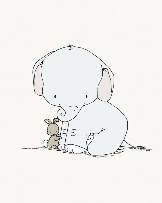 Elephant and Bunny Nursery Art -- Little Hugs -- Elephant and Bunny -- Nursery Art Print -- Nursery Decor-- Children Art, Kids Wall Art