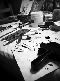 Rainy day = creative day. Journée pluvieuse = journée créative. 2015. Marie-Eve Arpin - Art. https://www.facebook.com/MarieEveArpinArt Lino Linocut Stamping Stamp Art  Illustration
