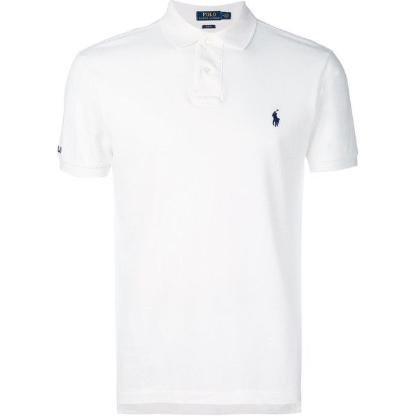 Polo Ralph Lauren logo embroidered polo shirt ($115) ❤ liked on Polyvore featuring men's fashion, men's clothing, men's shirts, men's polos, white, mens white cotton shirts, mens polo shirts, mens cotton shirts, polo ralph lauren mens shirts and mens white polo shirt