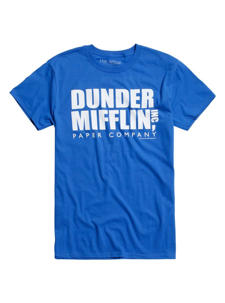 """You're probably tired of wearing a tie during your Dundie Award acceptance speeches...why not wear this instead? Dunder Mifflin's company logo from <i>The Office</i> is printed proudly on this blue T-shirt. Ideal for a rabies-curing fun run or team-building weekend with Michael Scott and the paper company team.<div><ul><li style=""""list-style-position: inside !important; list-style-type: disc !important"""">100% cotton</li><li..."""