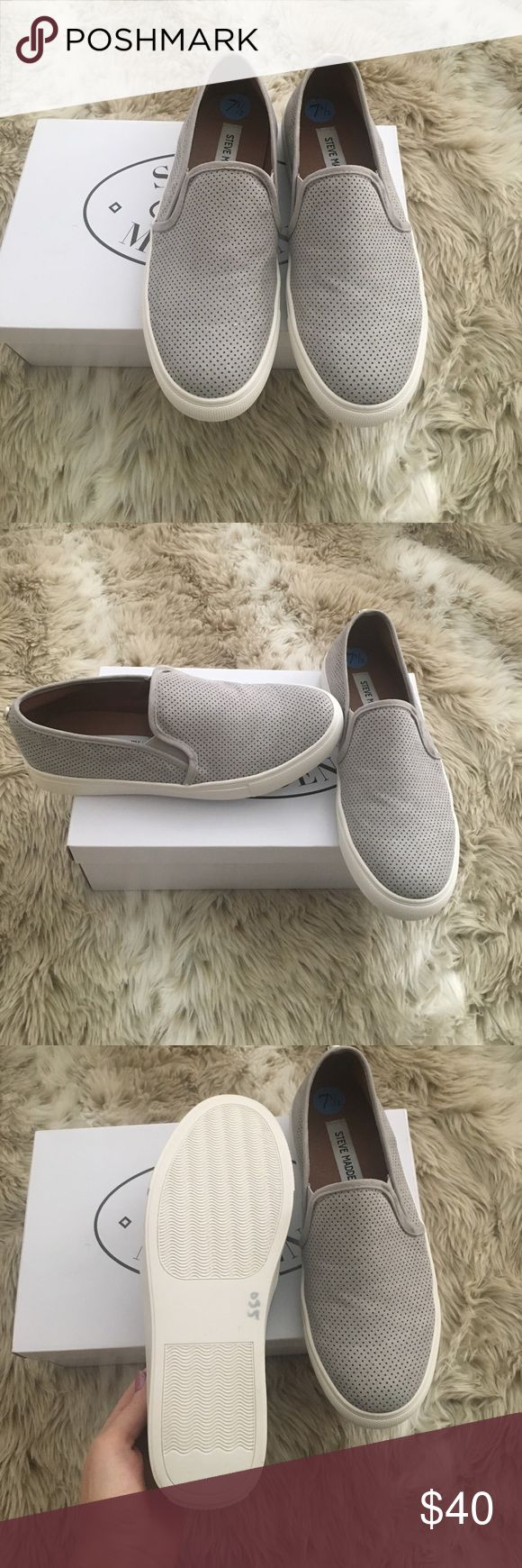 Brand New Steve Madden Shoes Super cute comfy gray slip on Steve Madden Shoes Steve Madden Shoes Sneakers