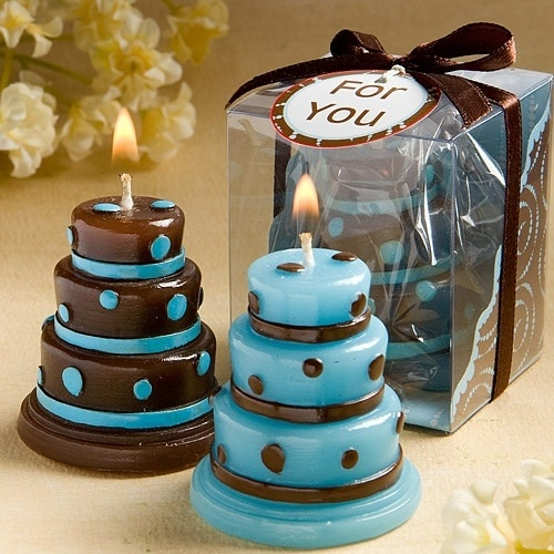 Blue and Brown cakes candle wedding favors