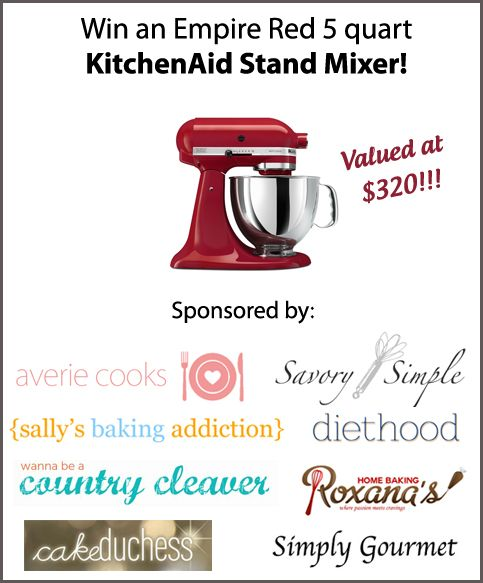 April 7 to April 14 at www.diethood.com - Giving away a KitchenAid Artisan 5 Quart Stand Mixer Giveaway!