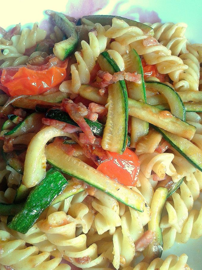 Salame, Tomatoes and Zucchini Pasta - One Fool Pie