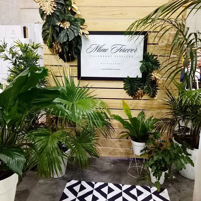 #throwbackthursday Remembering the awesome stand created with our lush tropical plants by Skye at @themakersfactory for @melissa_fahey_celebrant at the One Fine Day wedding expo earlier this year. Love the jungle lushness contrasted against the geometric rug. And check out those golden leaves!! 😍😍😍