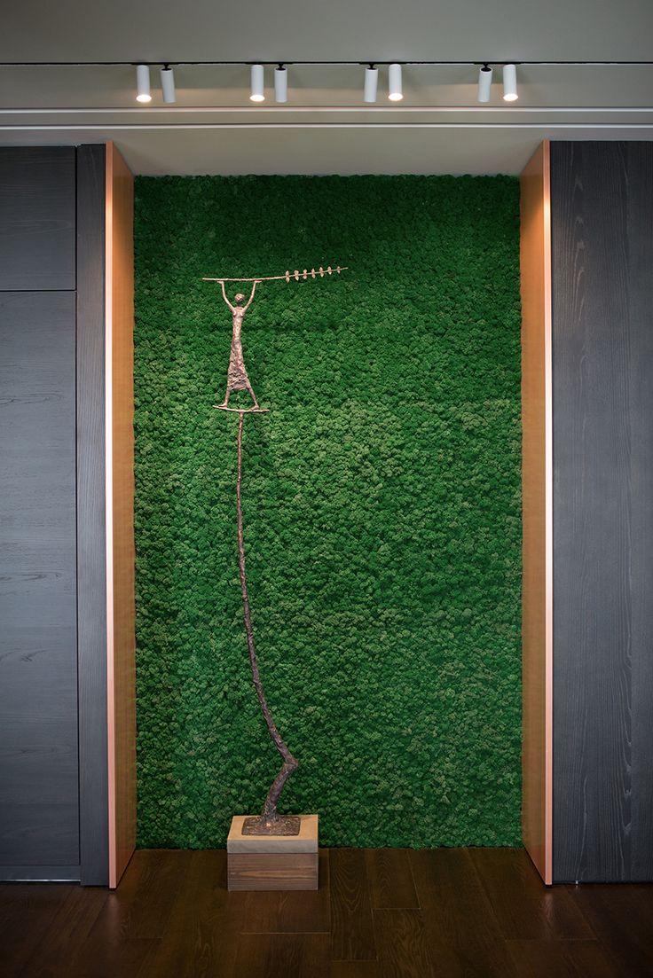Interior moss, Interior sculpture. Living room interior design ideas