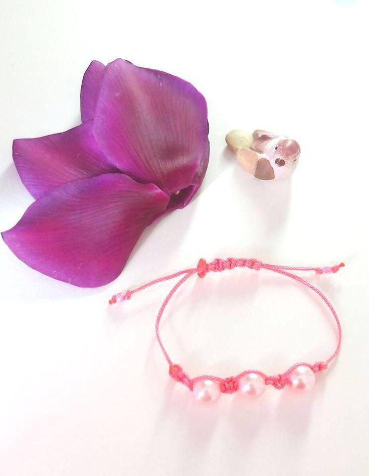 #braccialetto #shamballa #rosa con perle / #bracelet : Braccialetti di elenalucc