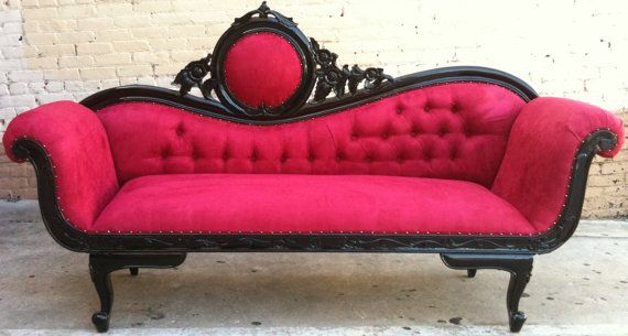 Red black french chaise lounge sofa vintage hollywood for Black chaise lounge sofa