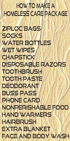 Here are just a few things you can put into a care package for someone who is homeless. Did we miss anything? Let us know! Stop by our website www.mygnomeonthwroam.com for more ideas.