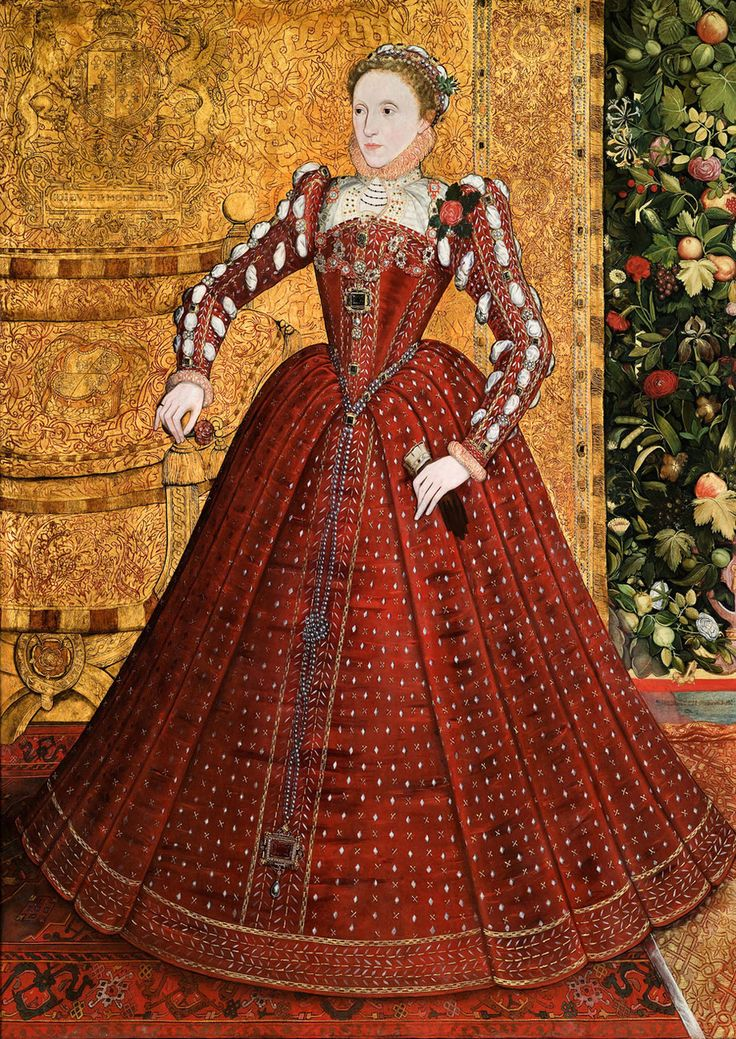 "The ""Hampden"" portrait, by Steven van der Meulen, ca. 1563. This is the earliest full-length portrait of the queen, made before the emergence of symbolic portraits representing the iconography of the ""Virgin Queen""."