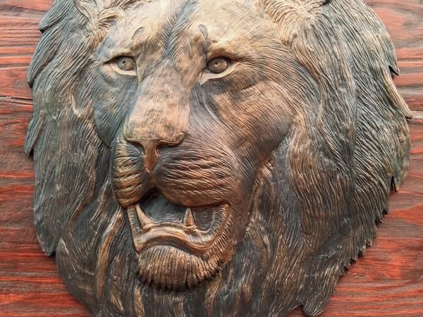 Lion Head Sculpture. Wall Hanging. Hand Crafted. Wooden Frame: 760 x 840mm Lion Head M1 sculpture casting agent and stained wood. www.Goodieshub.com