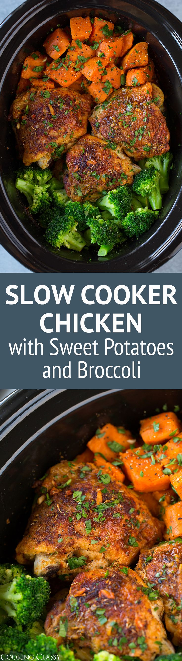 This Slow Cooker Chicken with Sweet Potatoes and Broccoliis perfectly easy to make yet it's so deliciously satisfying! A great meal any day of the week! T