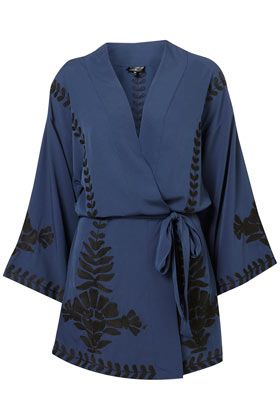 Lovely Topshop silk kimono, but not something I'd be able to afford. Looking for a wrap dress with a similar subtle patterning.