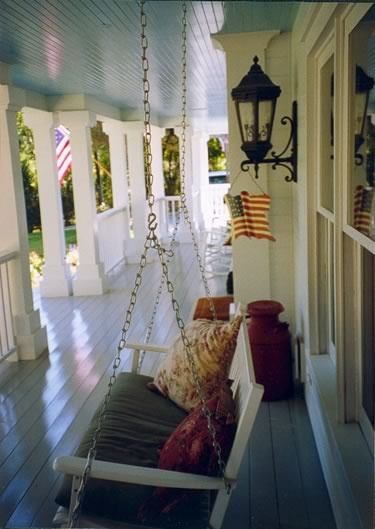 Front porch, love the floors, ceiling