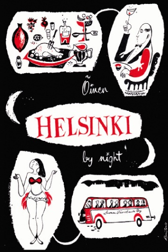 Helsinki by night.  I love the combo of black, white and red.
