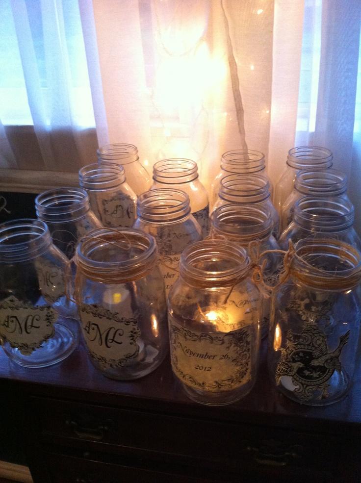Mason jar centerpiece. Wedding decor DIY