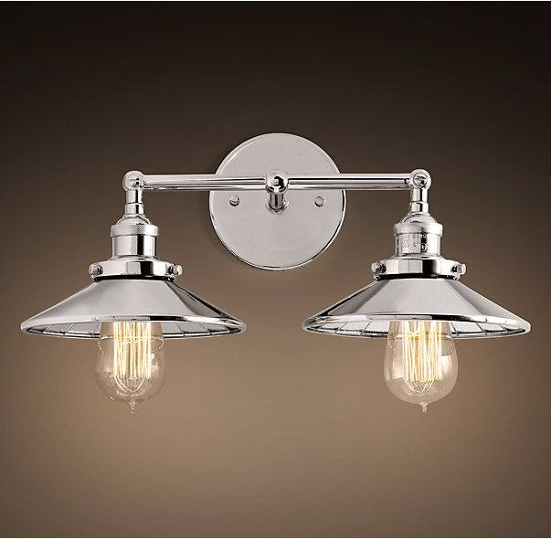20th C Factory Filament Reflector Double Sconce Upstairs Bath Pinterest Products Sconces