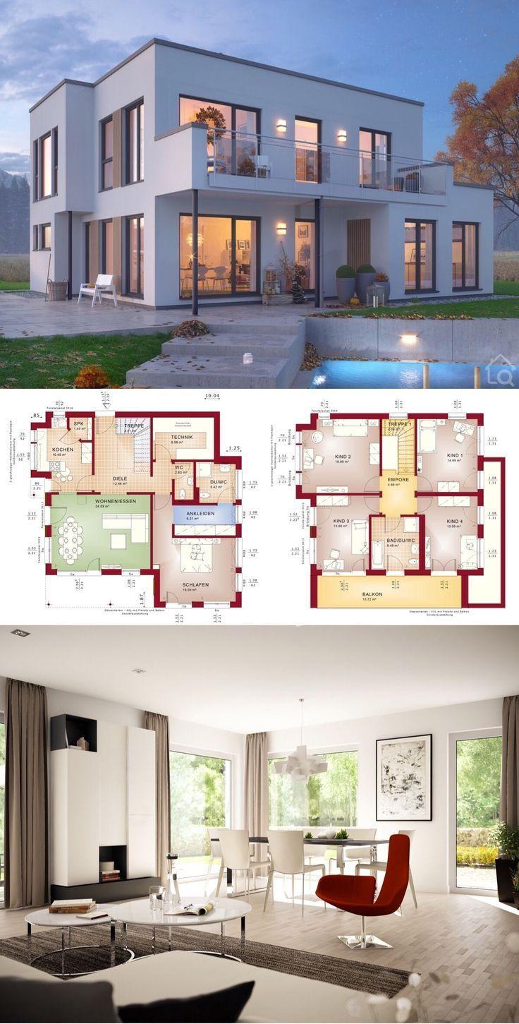 Prefabricated modern city villa with flat roof architecture bay window & balcony…