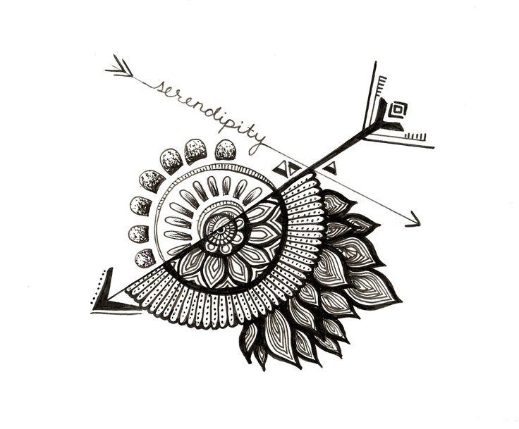 Serendipity Arrows Mandala by Erica Wolfe Original Artwork