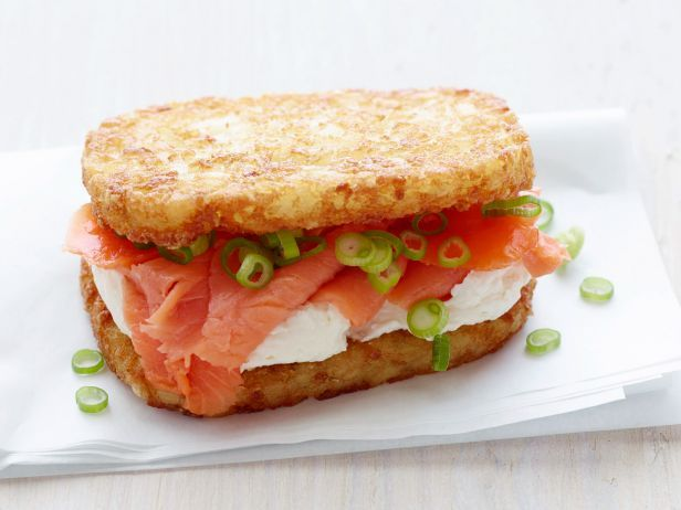 The Hashbagel: 1 of 10 Over-the-Top Breadless Sandwiches!: Breadless Sandwiches, 10 Over The Tops, Smoke Fish, Over The Tops Breadless, Food, Hash Browns, Hashbrown Lunch, Breadless Lunch, Cream Cheeses